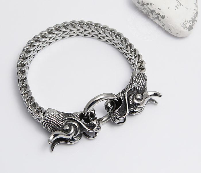BM475 Тяжелый стальной браслет с драконами (22 см) фото 05