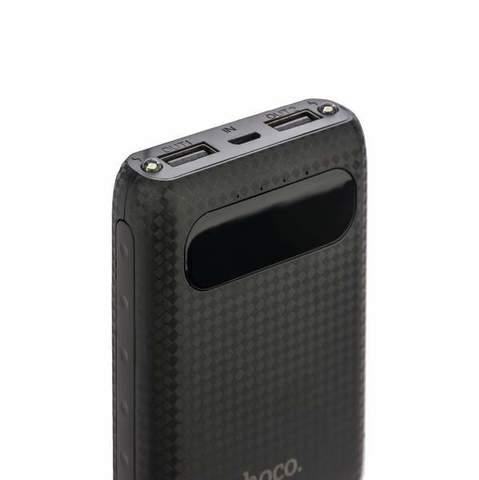Аккумулятор внешний универсальный Hoco B20-10000 mAh Mige Power Bank (2USB: 5V-2.1A) Black Черный