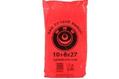 Пакет фасовочный, ПНД 10+8х27 (8) В пластах WWW красная (арт 80044)