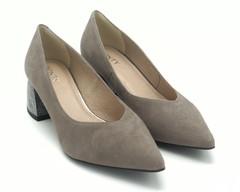Туфли натурная замша серые с серебристым каблуком