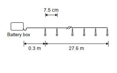 Гирлянда теплый белый свет б/о 368 лампы 2760см таймер на откл. 6/18, для наруж. и внутрен. использ.