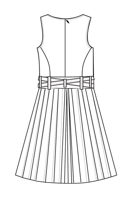 Выкройка сарафана, отрезного по линии талии с юбкой в складку спинка