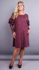 Юнона ангора. Стильна сукня для жінок з пишними формами. Бордо.