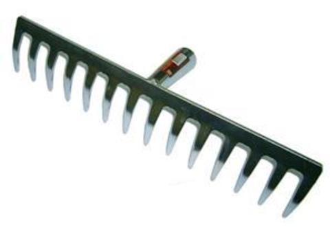 Грабли прямой зуб, б/рукоятки нерж.