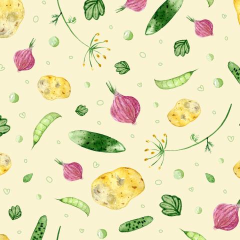 Овощи на жёлтом фоне