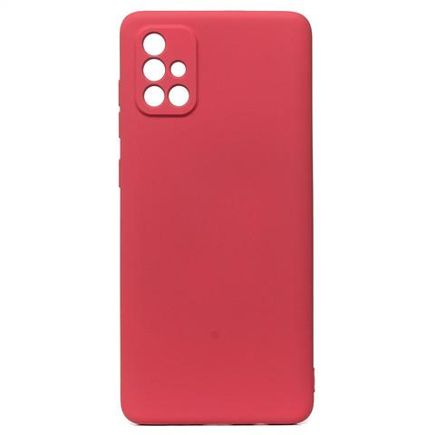 Чехол для Samsung (A715) Galaxy A71 Софт тач мягкий эффект   микрофибра бордовый