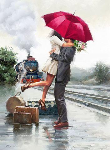 Картина раскраска по номерам 30x40 Романтическая встреча