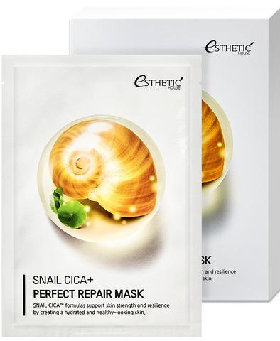 Esthetic House Маска тканевая для лица муцин улитки Snail Cica+ Perfect Repair Mask 25 мл