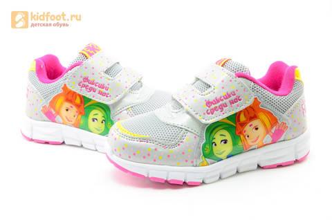 Светящиеся кроссовки для девочек Фиксики на липучках, цвет серый, мигает картинка сбоку. Изображение 10 из 15.