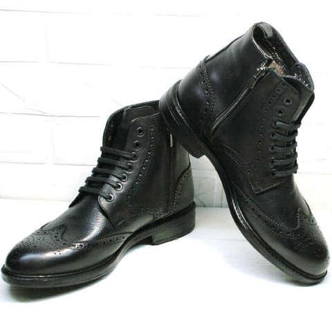 Черные ботинки мужские зимние кожаные классические. Высокие мужские ботинки с мехом LucianoBellini L-Black