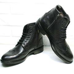Черные ботинки мужские классические зимние Luciano Bellini BC3801 L-Black.