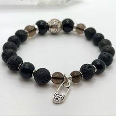 Женский браслет из Лавы, Мориона, Раухтопаза и серебра - фото