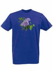 Футболка с принтом Цветы (Сирень) синяя 002