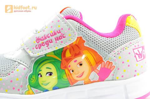 Светящиеся кроссовки для девочек Фиксики на липучках, цвет серый, мигает картинка сбоку. Изображение 12 из 15.