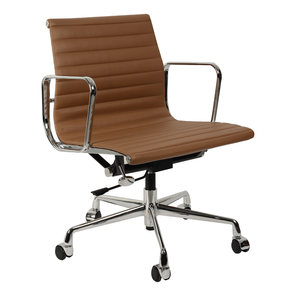 Кресло Eames Style Ribbed Office Chair EA 117 коричневая кожа - вид 1