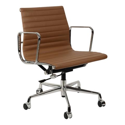 Кресло Eames Style Ribbed Office Chair EA 117 коричневая кожа