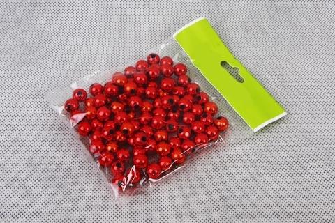 Бусинки в пакете 10 мм, пластик, 50 г, цвет: красный