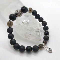 Женский браслет из Лавы, Мориона, Раухтопаза и серебра-фото 2