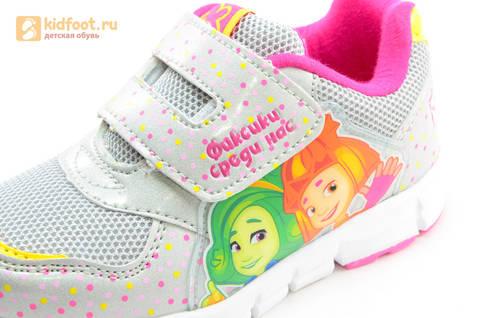 Светящиеся кроссовки для девочек Фиксики на липучках, цвет серый, мигает картинка сбоку. Изображение 13 из 15.