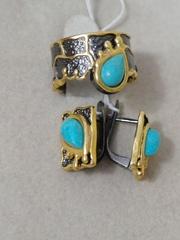 Олимия (кольцо + серьги из серебра)