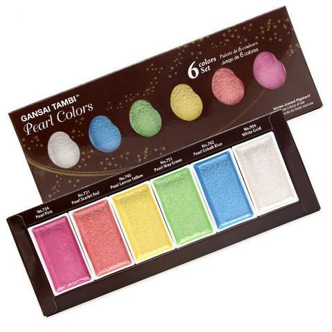Профессиональная японская акварель Kuretake Gansai Tambi -Pearl Colors- 6 цветов