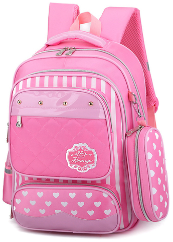 Рюкзак школьный Ziranu 0655 Розовый + Пенал