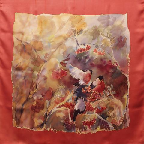 Шёлковый платок Снегири-2 С-60
