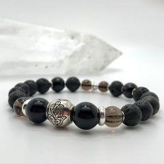Женский браслет из Лавы, Мориона, Раухтопаза и серебра - фото 3