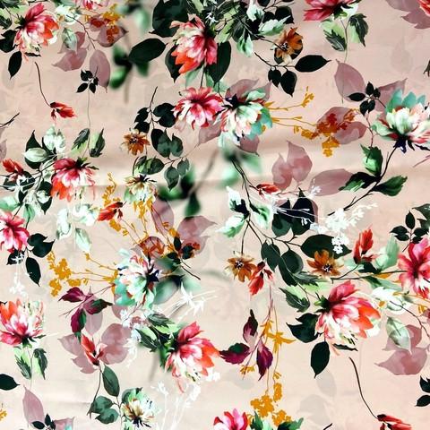 Ткань шелк матовый с эластаном розовый с акварельными цветами 1084
