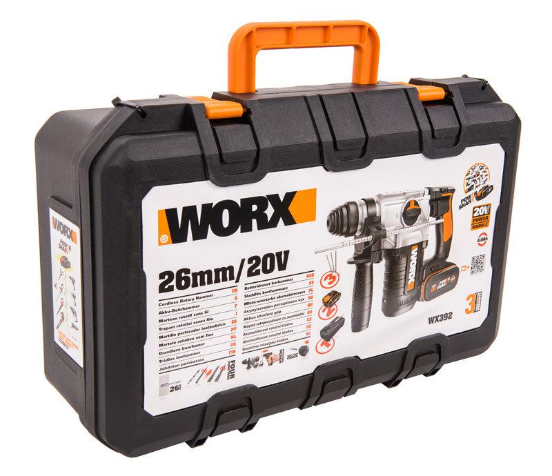 Перфоратор аккумуляторный WORX WX392 20В, 4Ач x2, ЗУ 2А, кейс