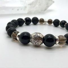 Женский браслет из Лавы, Мориона, Раухтопаза и серебра - фото 4