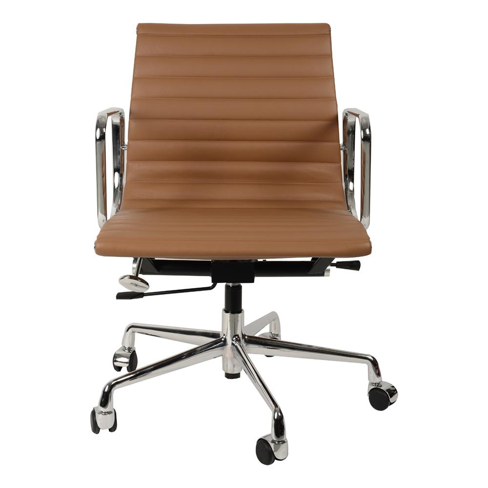 Кресло Eames Style Ribbed Office Chair EA 117 коричневая кожа - вид 4