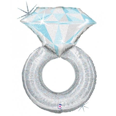 Воздушный шар фигура Кольцо с бриллиантом, серебро, 96 см