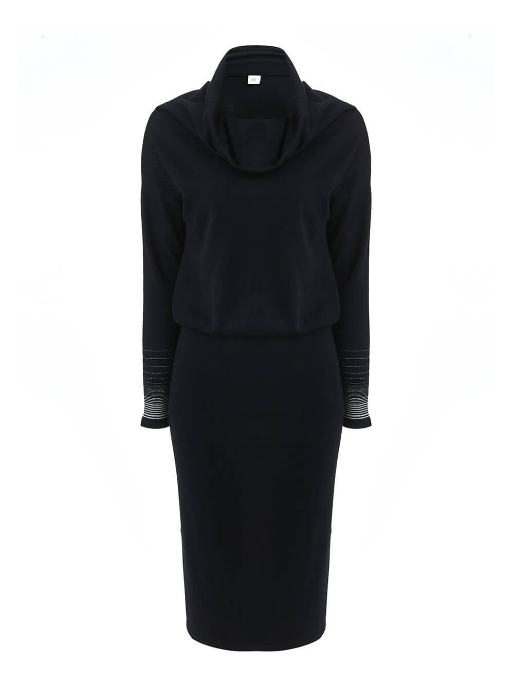 Женское платье черного цвета из шерсти и вискозы - фото 1