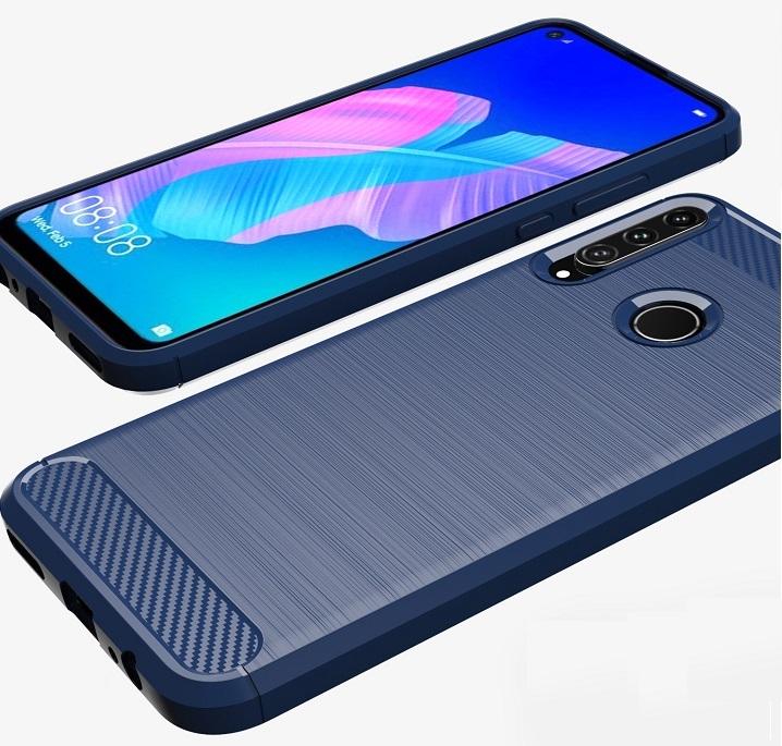 Темно-синий чехол на телефон Huawei P40 Lite E, серии Carbon (карбон стиль) от Caseport