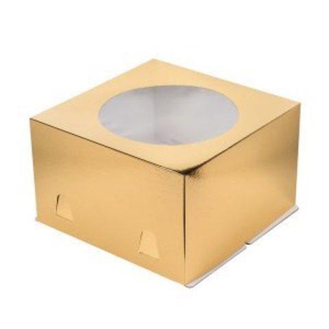 Коробка для торта с окном, 24*24*12см (золото)