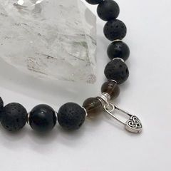 Женский браслет из Лавы, Мориона, Раухтопаза и серебра - фото 5