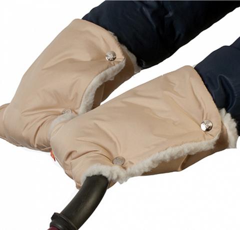 Муфты-рукавички на коляску однотон. (мех) Вишневые