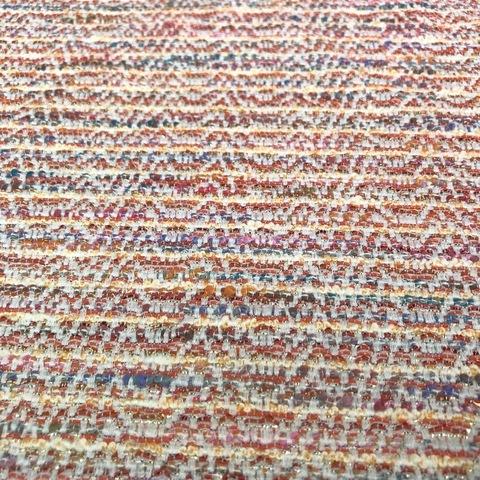 Ткань твид летний коралловый в полоску 3016