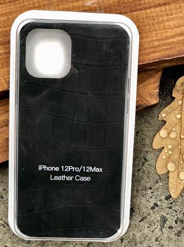 Чехол iPhone 12 /5,4''/ Leather crocodile case /black/