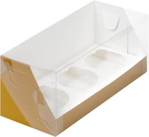 Коробка на 3 капкейка с пластиковой крышкой крафт, 24*10*10см