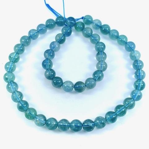 Бусины флюорит голубой А шар гладкий 8 мм 24 бусины