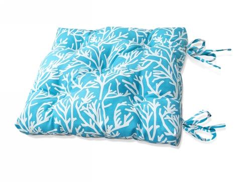 Подушка на стул Кораллы голубой уличная коллекция