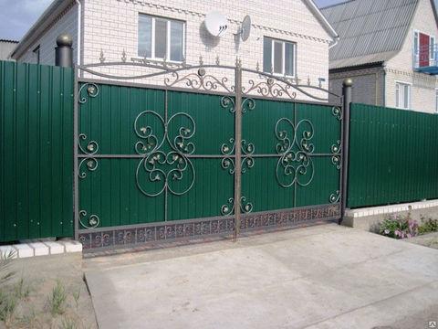 Распашные кованые ворота N-4
