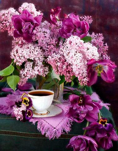 Алмазная Мозаика 30x40 Натюрморт с серенью и чашкой чая