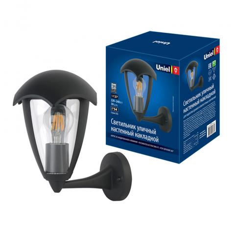 UUL-S80A 60W/E27 IP54 BLACK Светильник уличный, под лампу Е27. Архитектурный накладной. Корпус черный. TM Uniel.