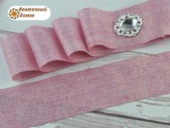 Лента текстильная с люрексом розовая 38 мм