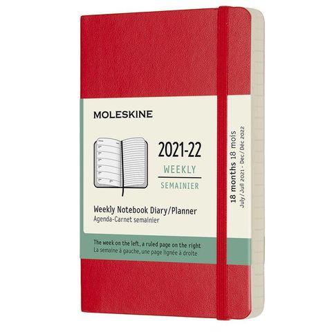 Еженедельник Moleskine (DSF218WN2) Academic Soft WKNT Pocket 90x140мм датир.18мес 208стр. мягкая обложка красный