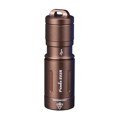 Фонарь-брелок светодиодный Fenix E02R, коричневый, 200 лм, встроенный аккумулятор