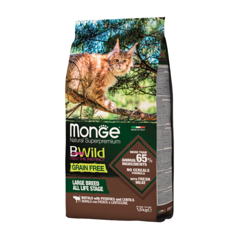 Monge Cat BWild Grain Free Сухой корм для крупных кошек из мяса буйвола, беззерновой